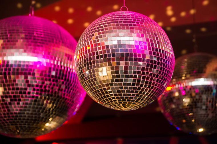 Disco ball in a nightclub