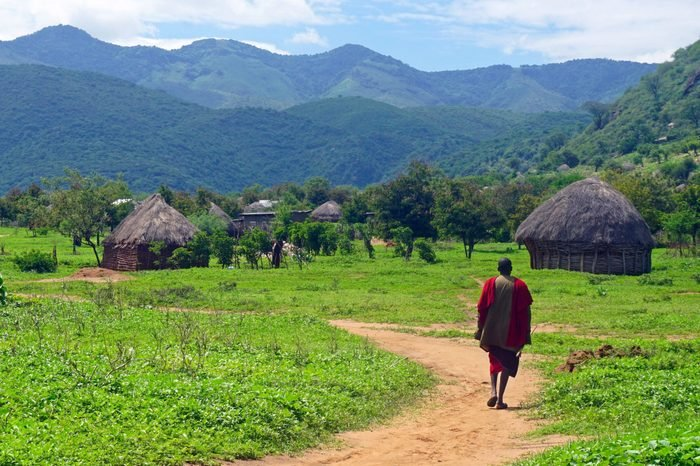Masai man in Masai village, northern Tanzania