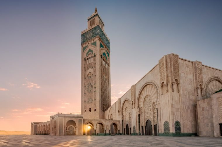 Ray of light at Hassan II Mosque, largest mosque in Morocco. Shot after sunset at blue hour in Casablanca.