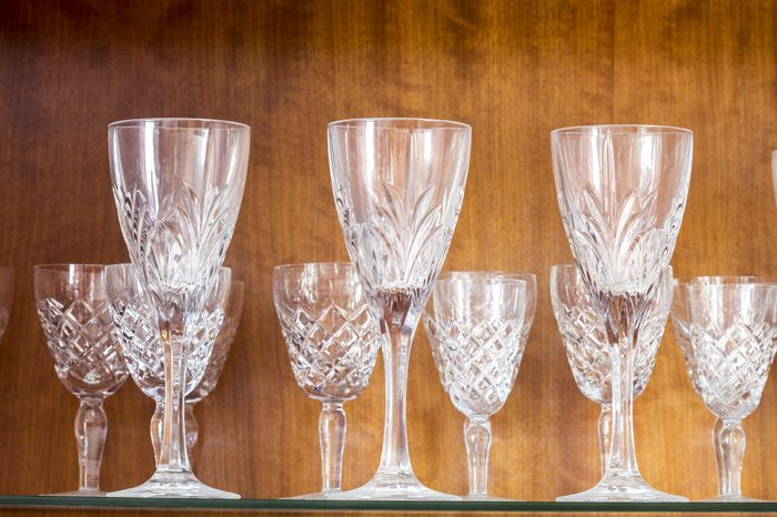 shine crystal glasses shot with small deep of view