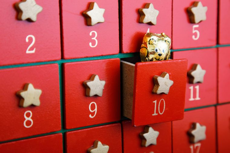 Advent calendar with chocolate toy horizontal