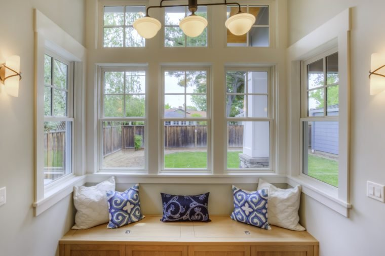 Window Seat with a view to the yard and large windows
