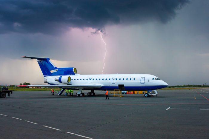 Lightning flashed behind the plane