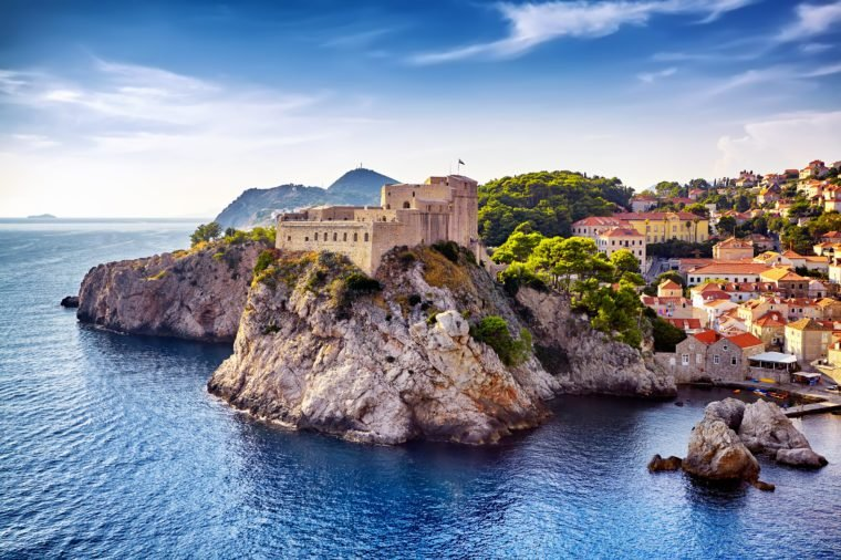 The General view of Dubrovnik - Fortresses Lovrijenac and Bokar seen from south old walls a. Croatia. South Dalmatia.