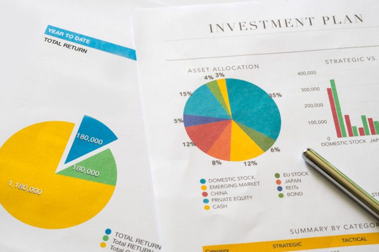 Investment planning and reporting concept. Closed up of investment planning report containing colorful graph of asset allocation planning.