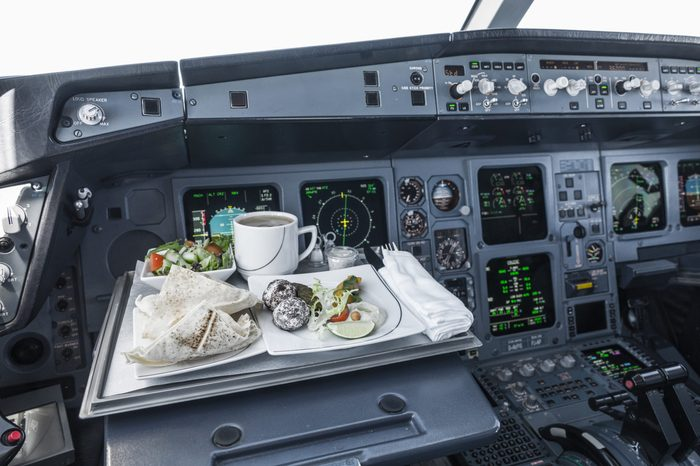 Captain's dinner in the Cockpit