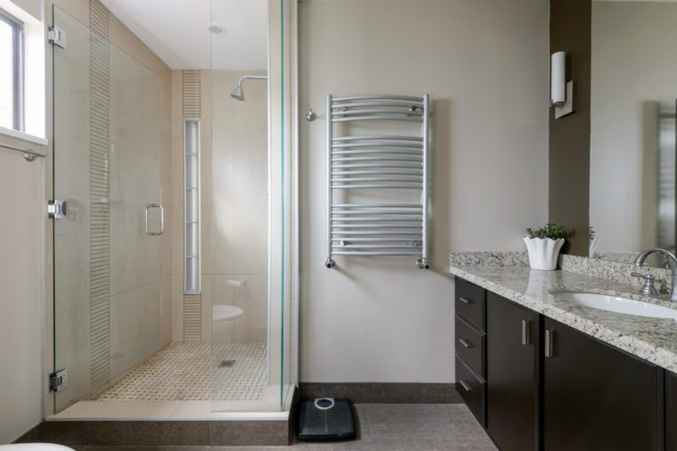 Modern bathroom with a shower cabin. Interior design.