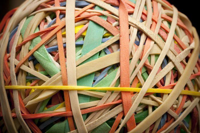 Closeup of a rubber band ball
