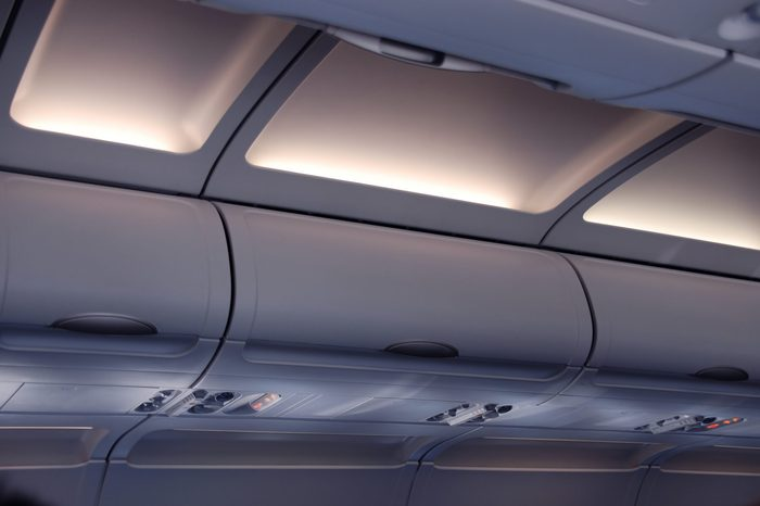 Cabin inside the aircraft, lights and signs