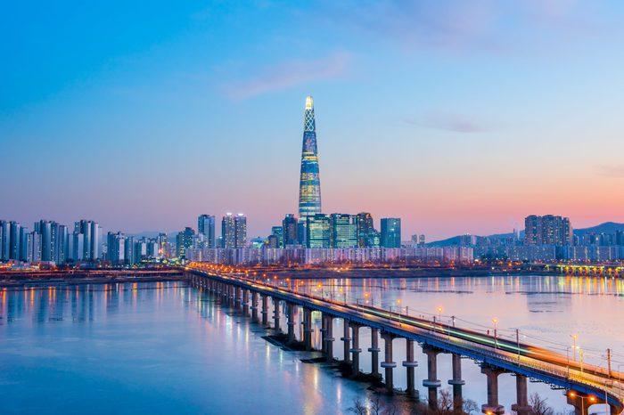 twilight sky sunset at han river seoul city korea