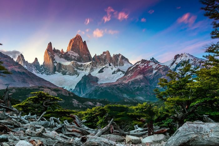 Fitz Roy mountain near El Chalten, in the Southern Patagonia, on the border between Argentina and Chile. Sunset view from track