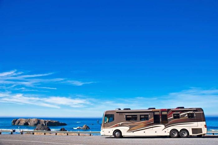 OREGON COAST, USA - September 3, 2009: Recreational vehicle parked alongside the Pacific Ocean