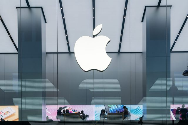 apple store with prominent logo