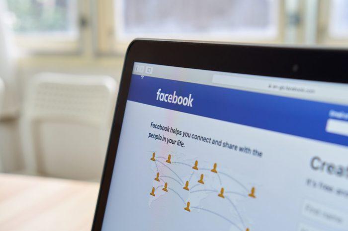 facebook login screen on a laptop