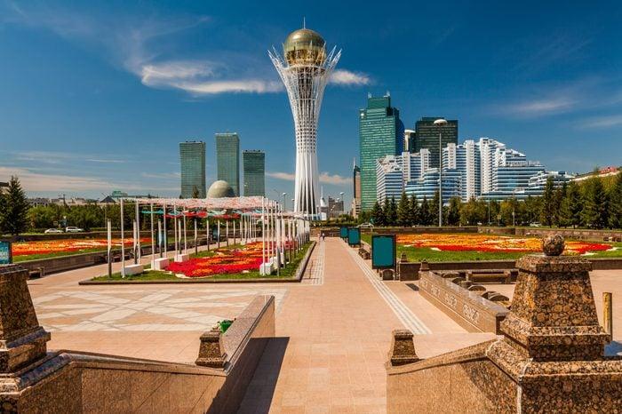 Bayterek Tower, Nurzhol Bulvar. Kazakhstan, Astana, July 24, 2017