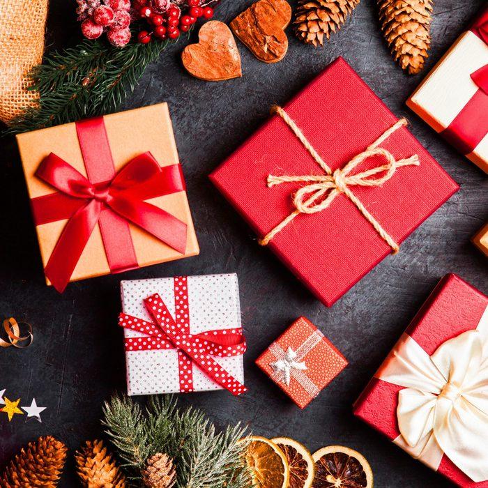 Christmas presents on dark background; Shutterstock ID 742438120