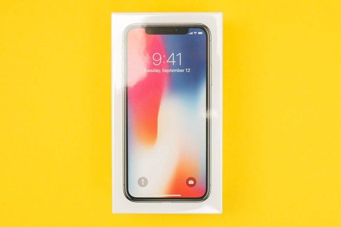 iphone box on yellow