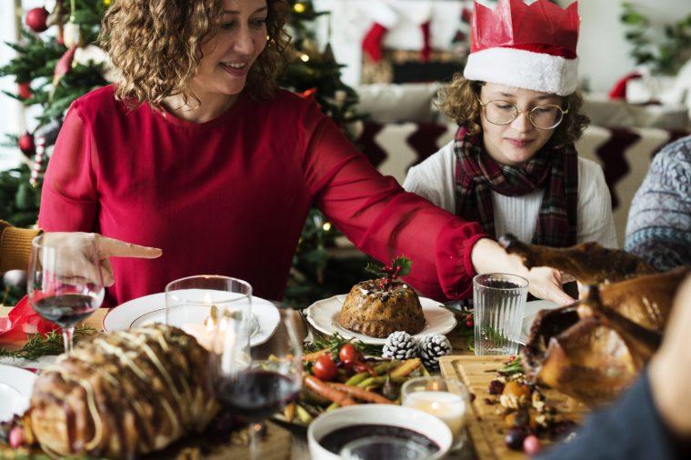 Family having a Christmas dinner