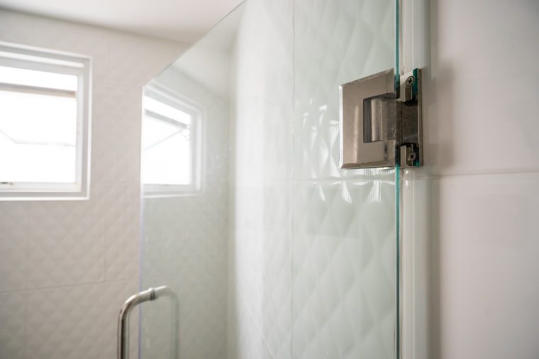 Door hinges on glass door in bathroom for wet zone - can use to display or montage on product
