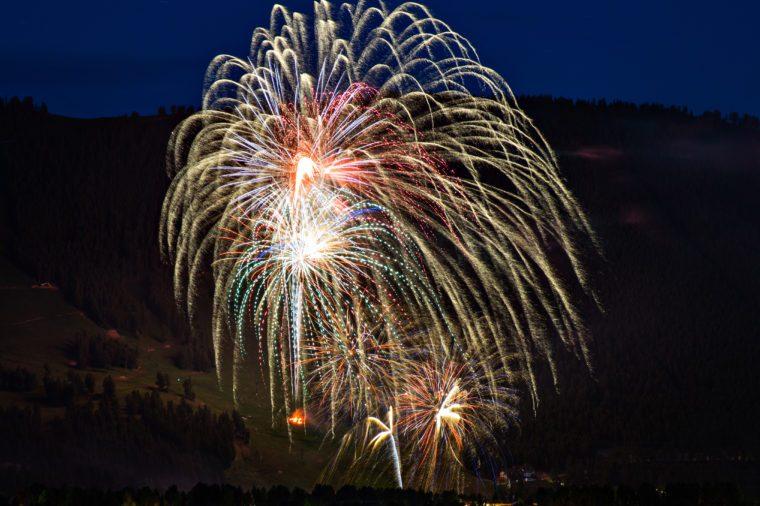 SPECTACULAR FIREWORKS OVER JACKSON HOLE WYOMING FOURTH OF JULY