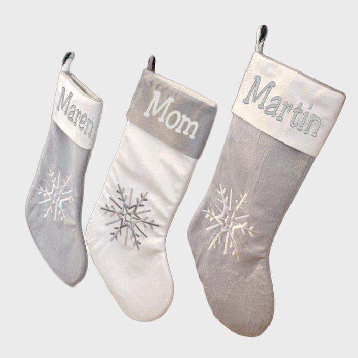 Silver And White Christmas Stockings Via Etsy