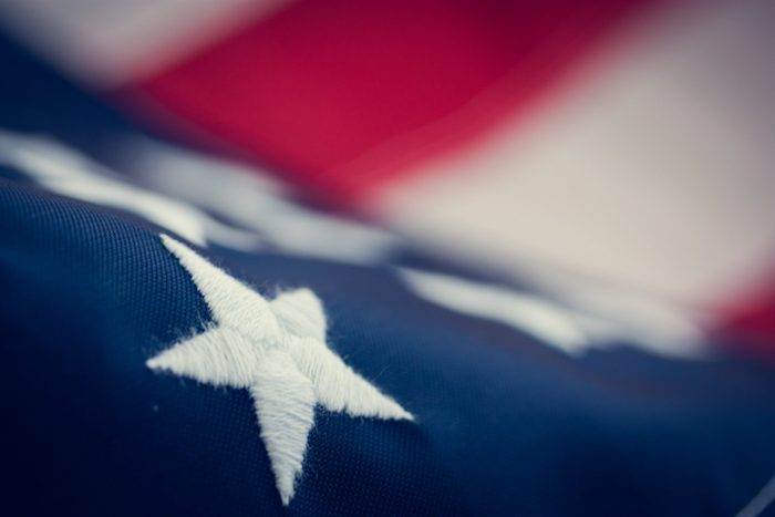 Independence day, American flag, close-up, retro, bottom view, blur. with copy space for text