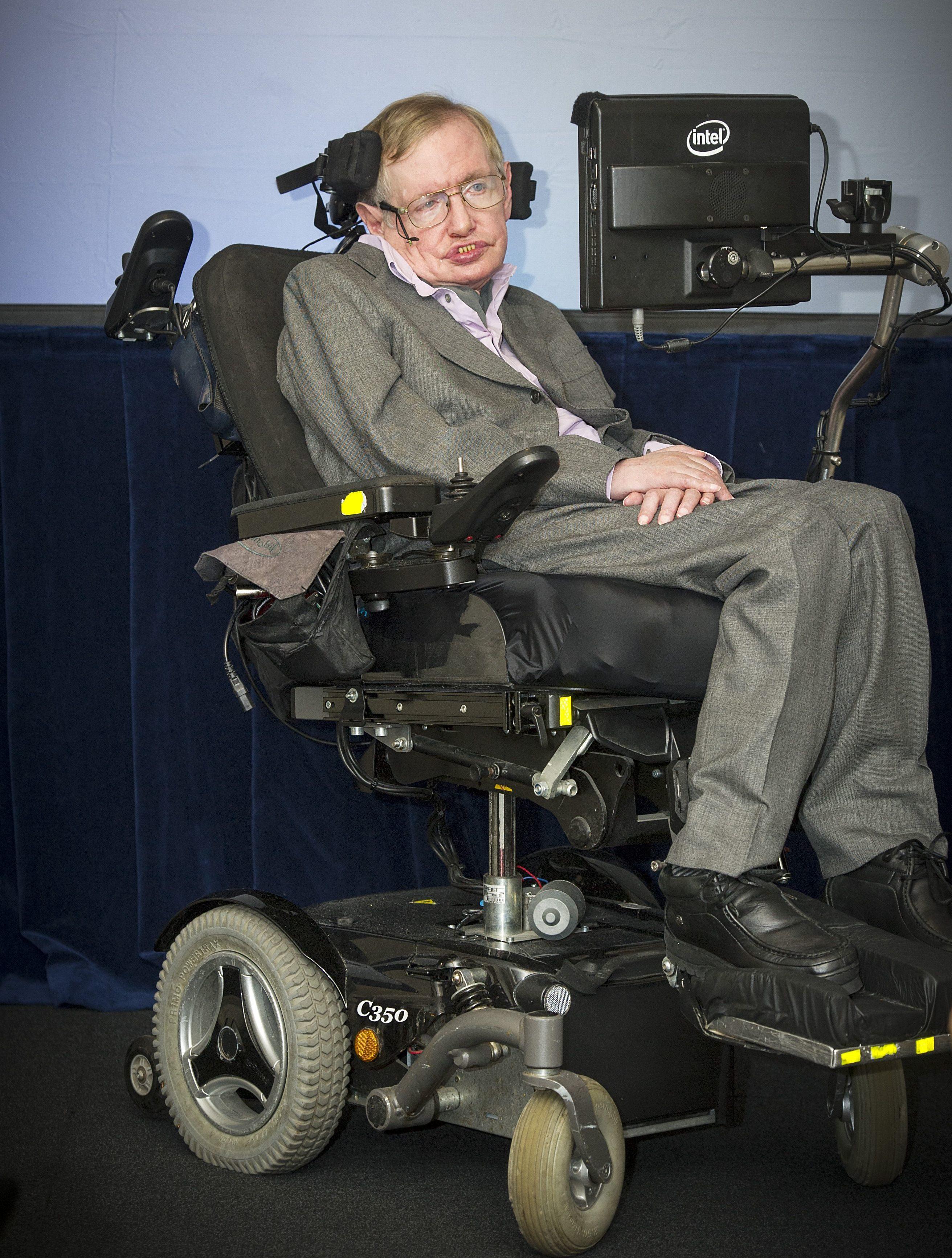 Mandatory Credit: Photo by Geoff Pugh/Shutterstock (4273603c) Stephen Hawking Stephen Hawking attends Intel press conference at the Savoy Hotel, London, Britain - 02 Dec 2014