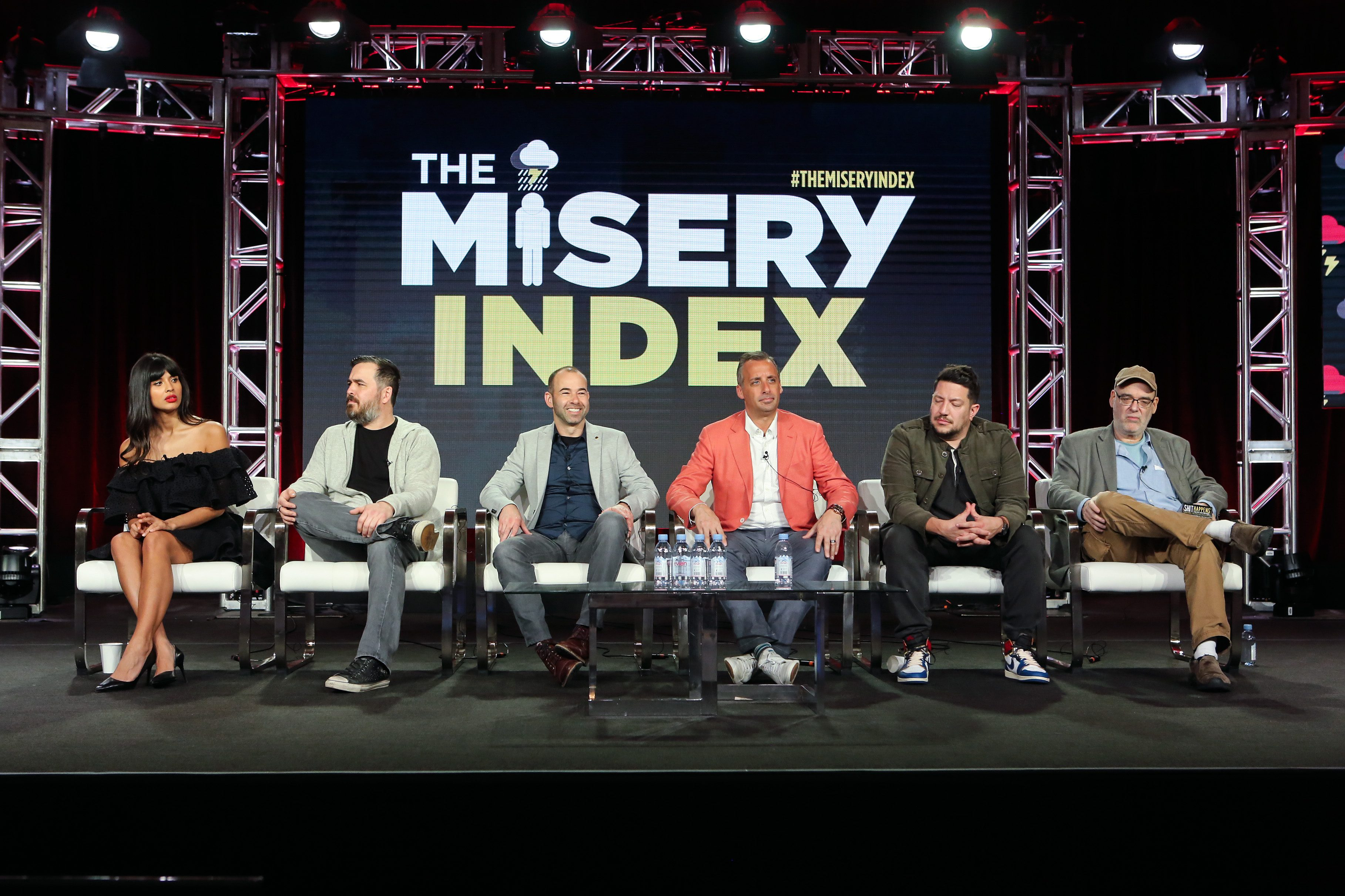 "Mandatory Credit: Photo by David Buchan/Variety/Shutterstock (10101232b) Jameela Jamil, Brian ""Q"" Quinn, James ""Murr"" Murray, Joeseph Gatto, Sul Vulcano and Andy Breckman TBS 'The Misery Index' TV Show Panel, TCA Winter Press Tour, Los Angeles, USA - 11 Feb 2019"