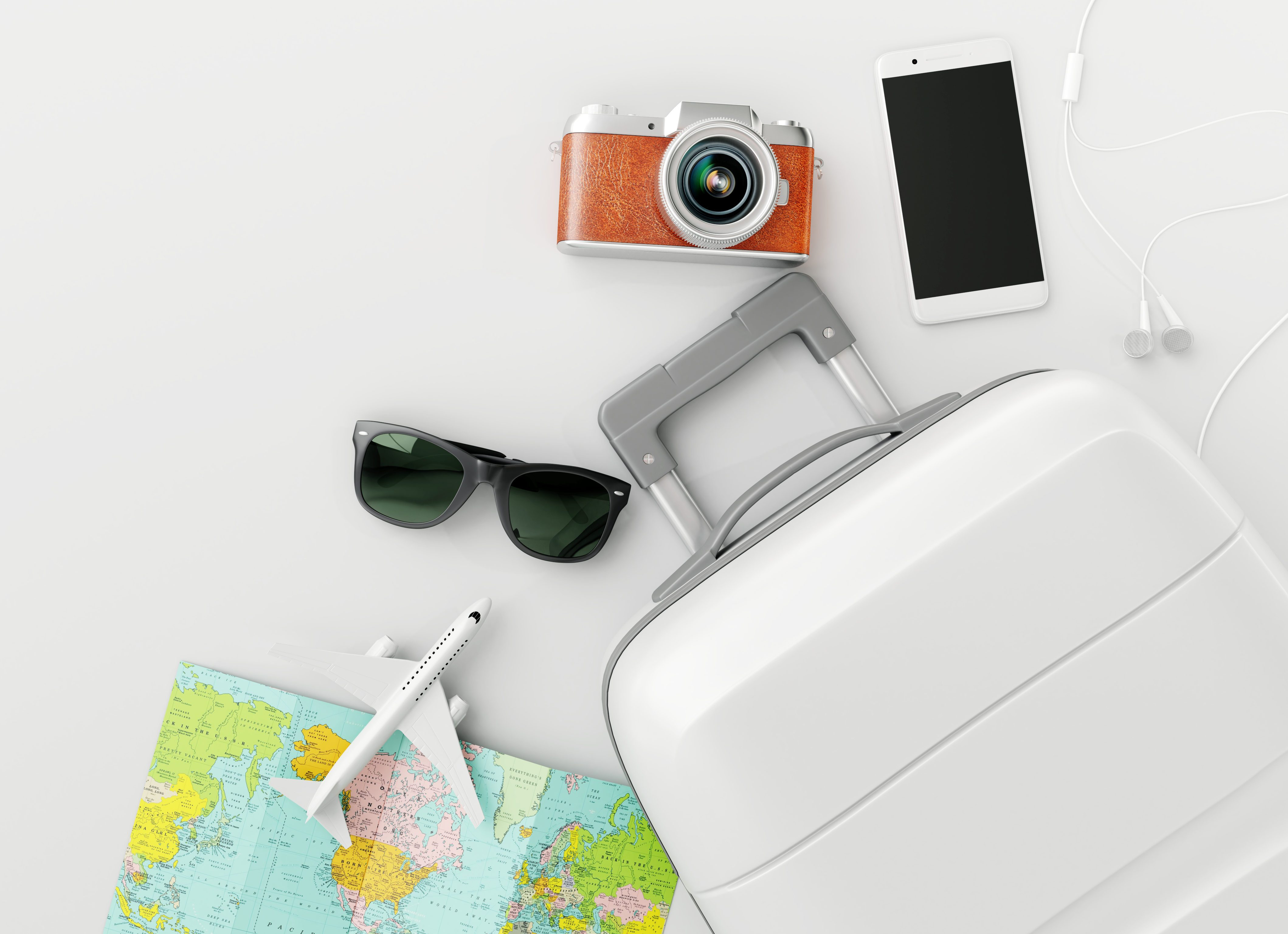 Flat lay white suitcase with traveler accessories on white bright background. travel concept. 3d rendering
