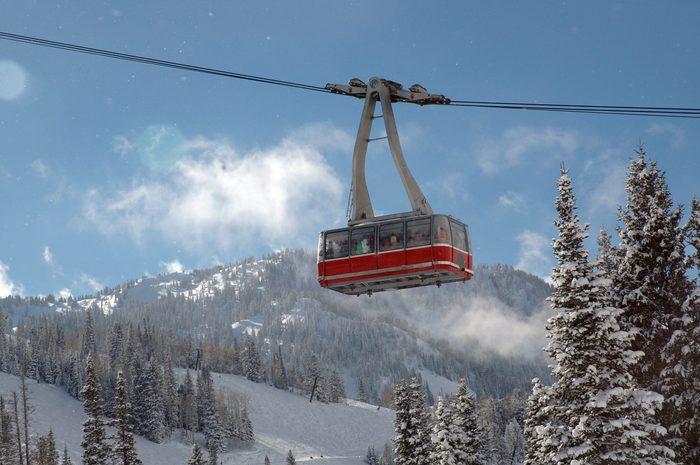 Red Ski tram over ski resort at Snowbird, Utah