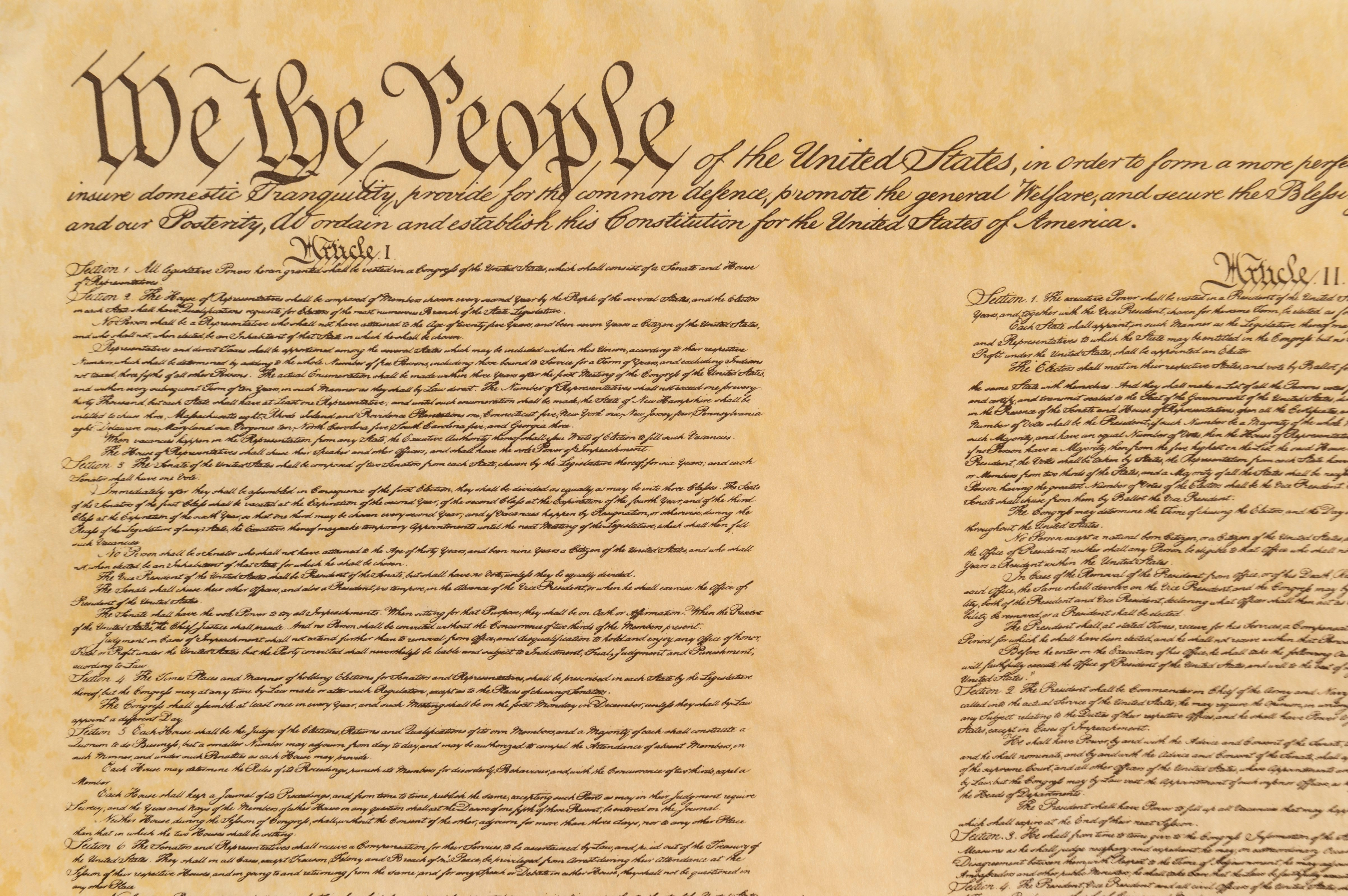 Opening preamble of the United States of America Constitution with a front view