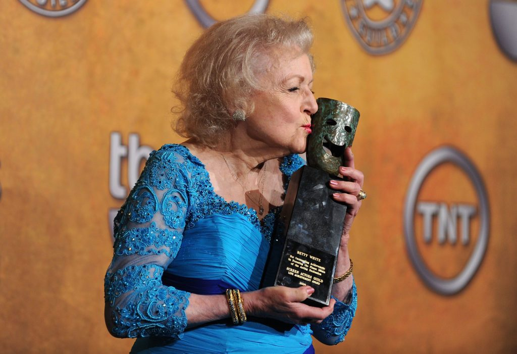 Actress Betty White poses with the Life Achievement Award in the press room at the 16th Annual Screen Actors Guild Awards held at the Shrine Auditorium on January 23, 2010 in Los Angeles, California.