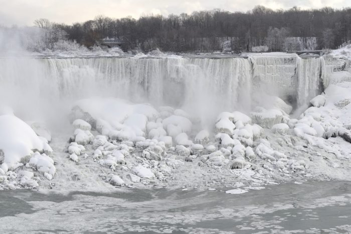 Niagara Falls covered with ice and snow