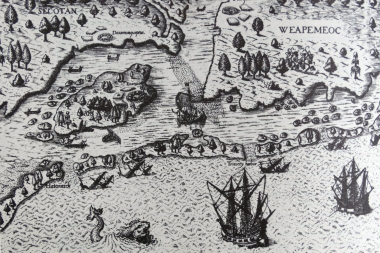 The arrival of Sir Walter Raleigh (1552-1618), in Virginia, leading to the settlement established on Roanoke Island under John White (c.1540-93