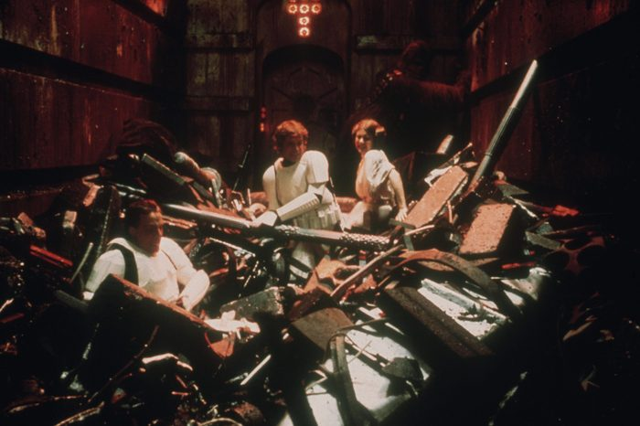 the trash compactor scene - Mark Hamill, Harrison Ford, Carrie Fisher, Peter Mayhew Star Wars Episode IV - A New Hope - 1977