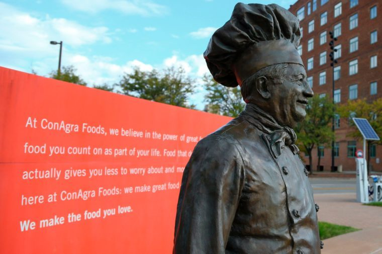 A statue of Chef Boyardee stands in front of the world headquarters of ConAgra Foods in Omaha, Neb