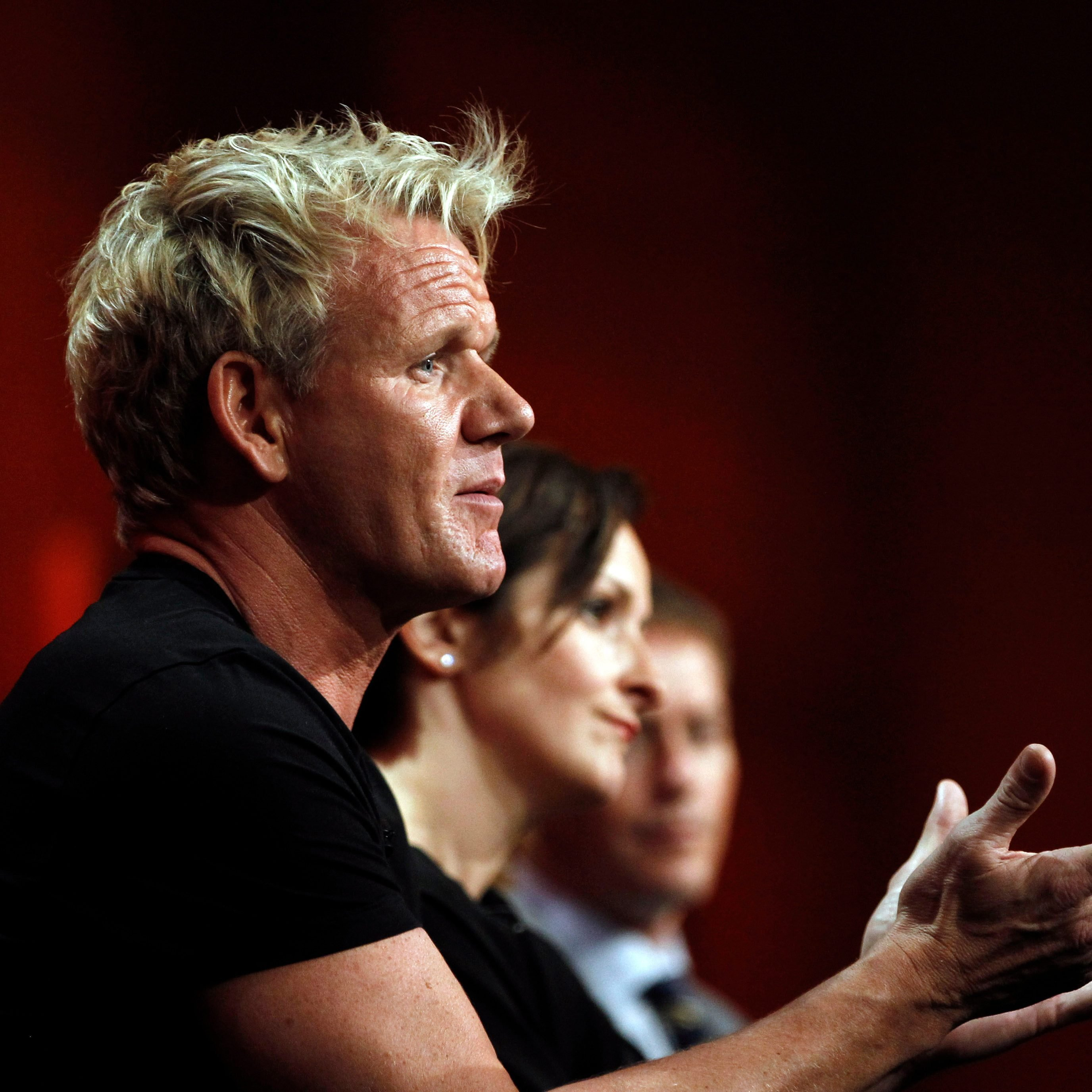 """Mandatory Credit: Photo by Matt Sayles/AP/Shutterstock (6322075al) Gordon Ramsay Judge and executive producer Gordon Ramsay, from """"MasterChef"""", participates in a panel discussion at the Fox Television Critics Association summer press tour in Beverly Hills, Calif Summer TCA Tour Fox, Beverly Hills, USA"""