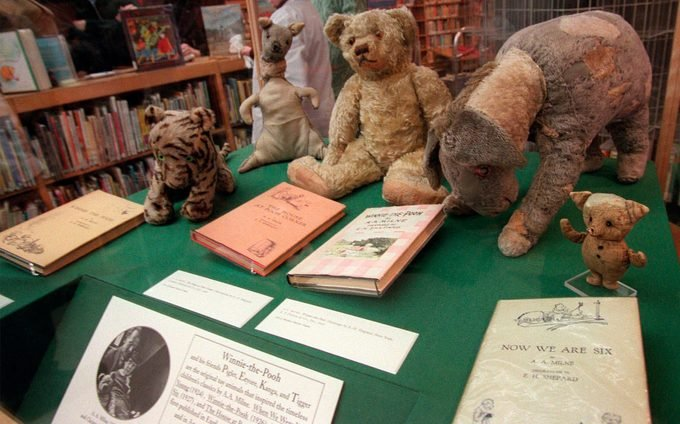 POOH The tattered and faded stuffed animals--Pooh, Tigger, Kanga, Eeyore and Piglet--that inspired the children's tales of A.A. Milne sit in a glass case at a branch of the New York Public Library in New York. 5 Feb 1998