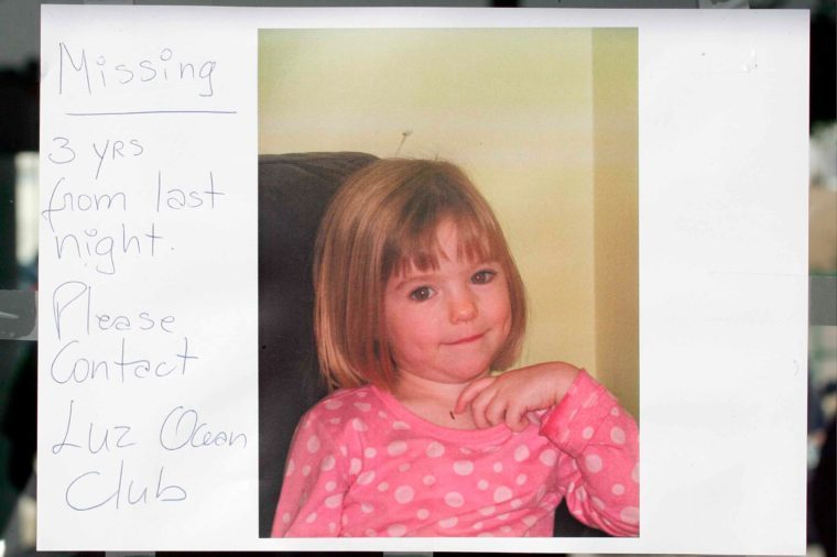 Photograph of 3 year old Madeleine McCann put up in a window. She went missing from her apartment on Thursday night, whilst on holiday. 5 May 2007