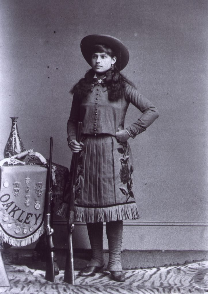 "Annie OAKLEY, 1860-1936, Wild West Show cowgirl called ""Little Sure Shot"" c. 1885"