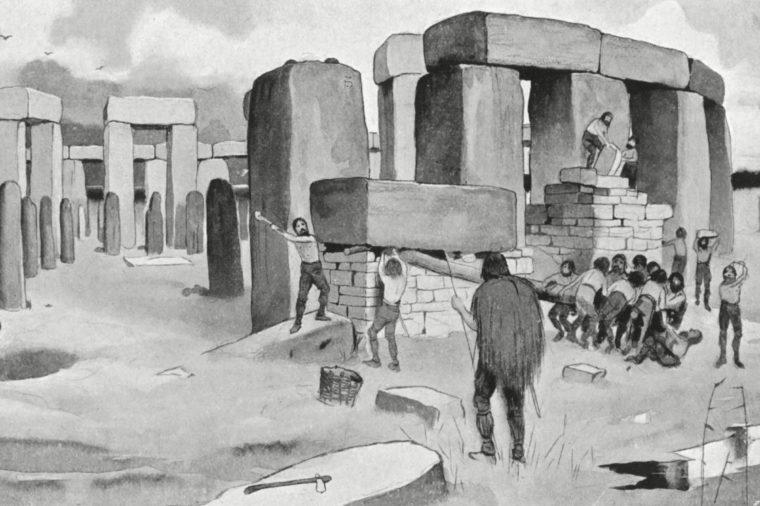 Construction of A Prehistoric Stone Circle circa 3000 BC