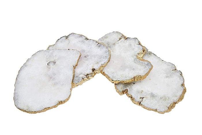 white quartz coasters