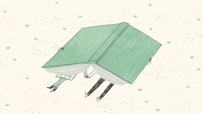 illustration of a couple holding hands beneath a giant book