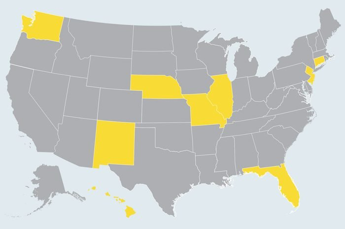 map showing state(s) to travel to in february