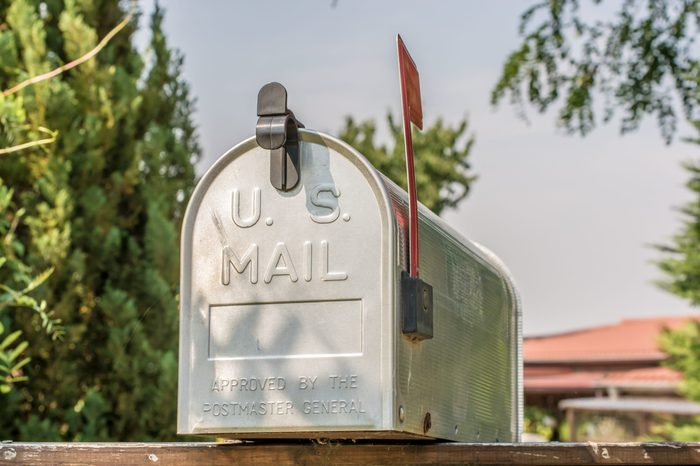 us mail mailbox with flag up