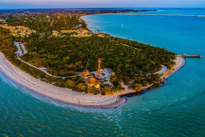 Aerial view of Sanibel Island, Florida at sunrise