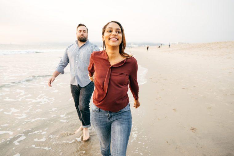Couple on the Beach happy loving