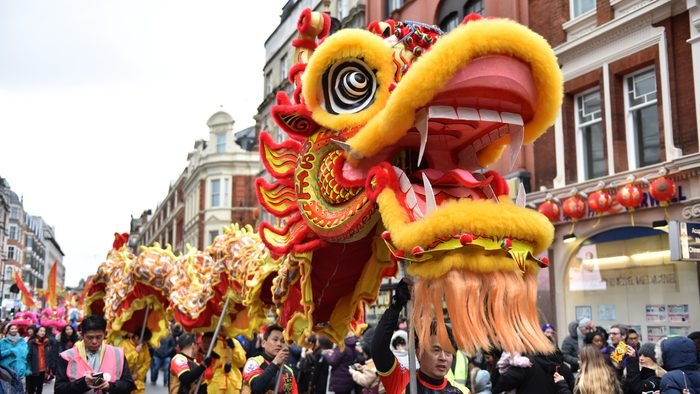 A Dragon dance is performed during the Chinese new year parade on February 10, 2019 in London, England.