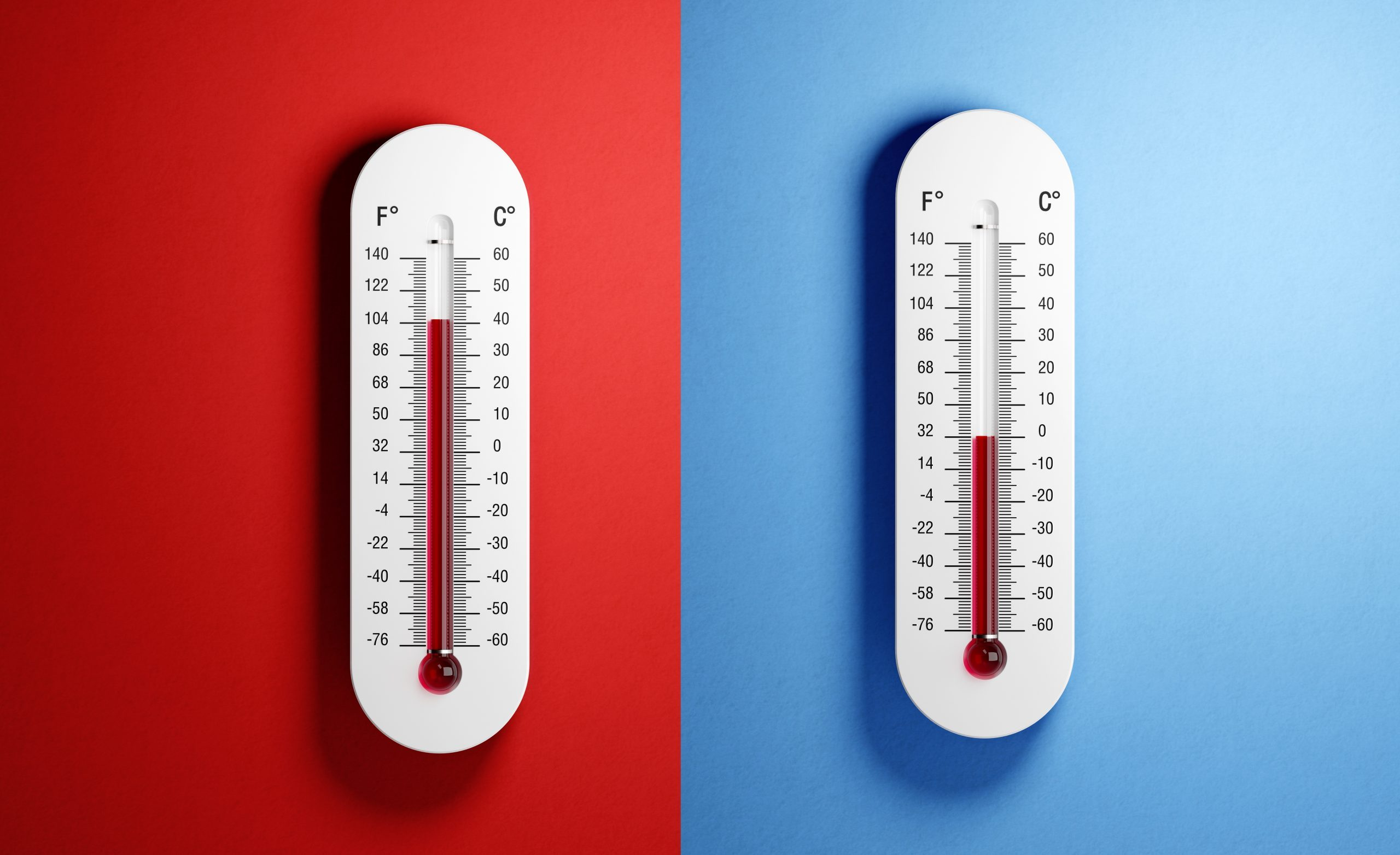 Thermometers on red and blue backgrounds