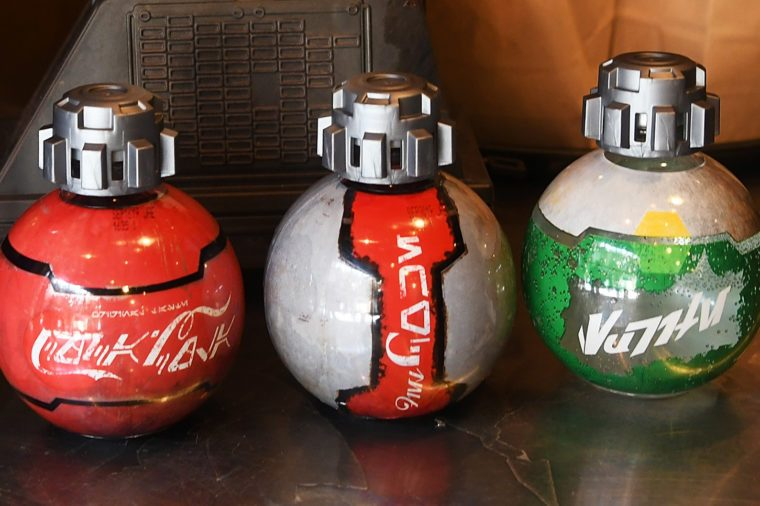 novelty star wars galaxy's edge soda bottles. coke and sprite.